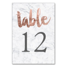Table Number rose gold typography marble wedding