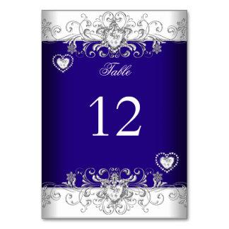 Table Number Royal Blue Wedding Silver Diamond Card
