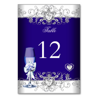 Table Number Royal Blue Wedding Silver Glass Card