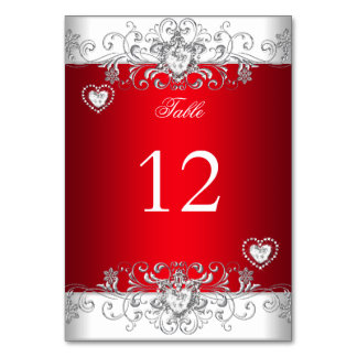 Table Number Royal red Wedding Silver Diamond Card