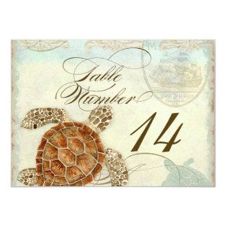 Table Number Sea Turtle Ocean Beach Wedding Art