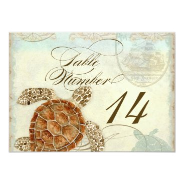 Beach Themed Table Number Sea Turtle Ocean Beach Wedding Art