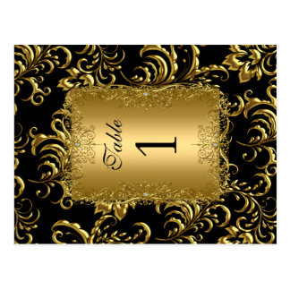 Table Number Seating Place Cards Damask Gold