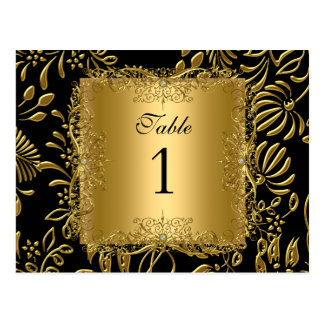 Table Number Seating Place Cards Damask Gold Postcards