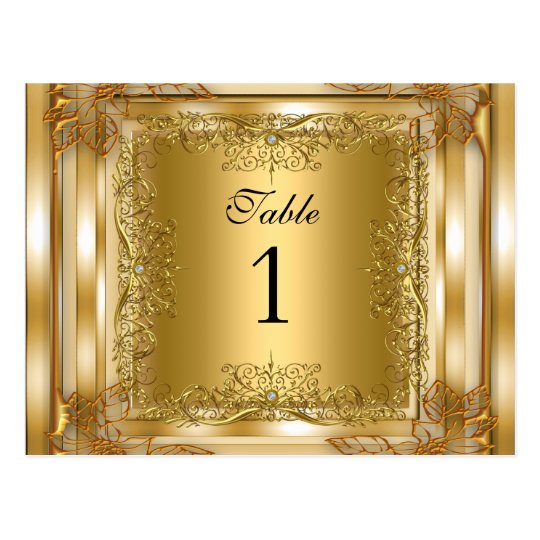 Table Number Seating Place Cards Gold