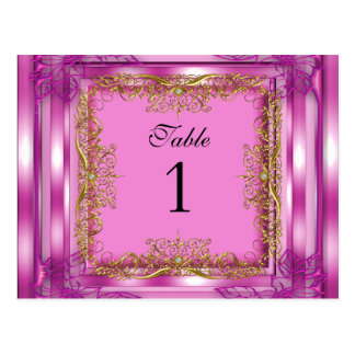 Table Number Seating Place Cards Gold Pink