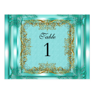 Table Number Seating Place Cards Gold Teal