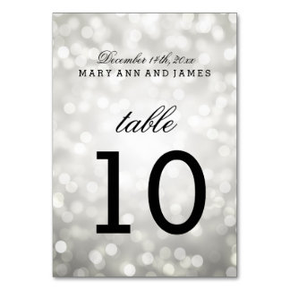 Table Number Silver Glitter Lights Card