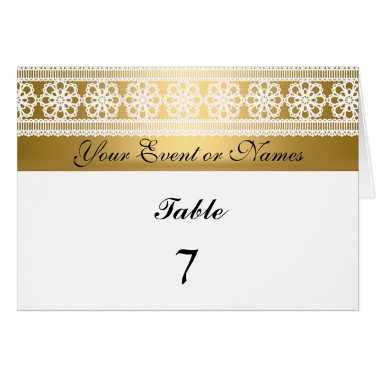 Table Number Sitting Party Card Gold White