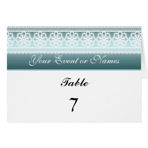Table Number Sitting Party Card Teal white