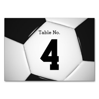 Table Number Soccer   Football Card