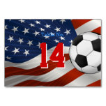 Table Number Soccer on USA Flag Table Card