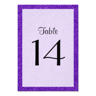 Table Number - Sparkling Glitter Glow - Purple 3.5x5 Paper Invitation Card
