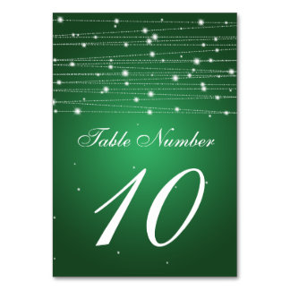 Table Number Sparkling Lines Emerald Green