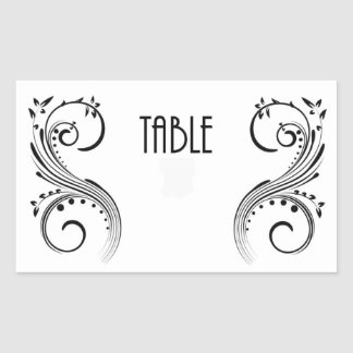 Table Number Rectangle Sticker