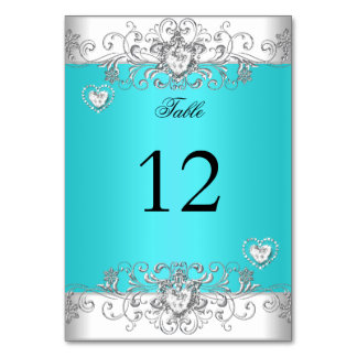 Table Number Teal Blue Wedding Silver Diamond Card
