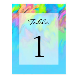 Table Number Turquoise Blue Lime Pink Tye Dye Postcard
