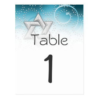 Table Number Turquoise Shimmer Star of David Postcard