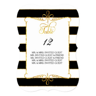 Table Number w Guest Names Gold Striped Script Card