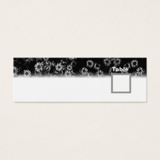 Table Number Wedding Black Floral Mini Business Card