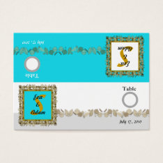 Table Number Wedding Blue Gold Leaf Business Card at Zazzle