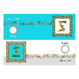 Table Number Wedding Blue Gold Leaf Large Business Cards (Pack Of 100)
