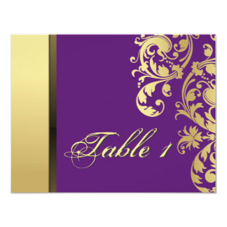 Table Number Wedding Card - Purple & Gold Floral Personalized Announcements