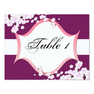 Table Number Wedding Card - Sangria White Blossoms Personalized Announcements