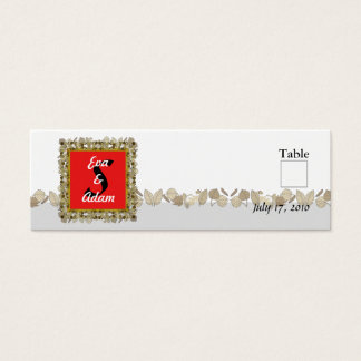 Table Number Wedding Red Gold Leaf Mini Business Card