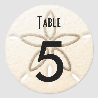 Table Number Wine bottle Beach Wedding Labels Classic Round Sticker
