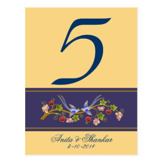 Table Number with Lovebirds on Blue Postcard