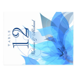 Table Numbers - Abstract Floral - Blue & White Postcard