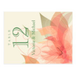 Table Numbers Abstract Floral Orange Ice Ecru Postcard