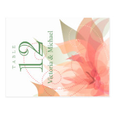 Table Numbers - Abstract Floral - Orange Ice Post Cards
