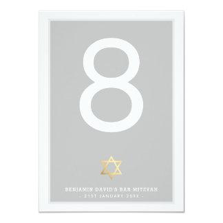 TABLE NUMBERS Bar Mitzvah star of david gray