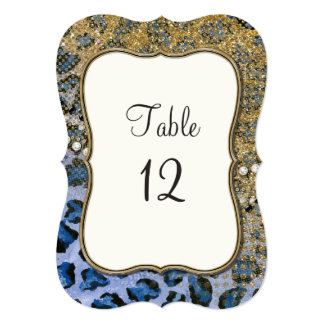 Table Numbers Blue Gold Glitter Leopard Pattern Invitation