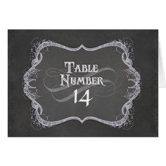 Table Numbers - Chalkboard Typographic Leaf Swirl Greeting Cards