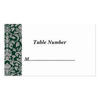 Table Numbers Classic Green Damask Business Card