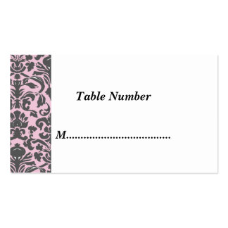 Table Numbers Classic Pink Damask Business Card