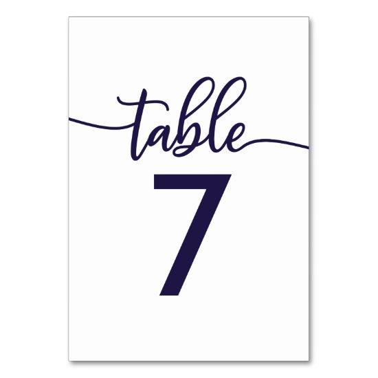Table Numbers Elegant Calligraphy Navy Blue