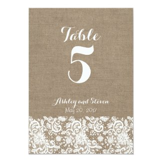 Table numbers for rustic wedding - burlap and lace