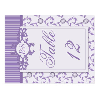 Table Numbers in Ornate Lavender Purple Pattern Postcard