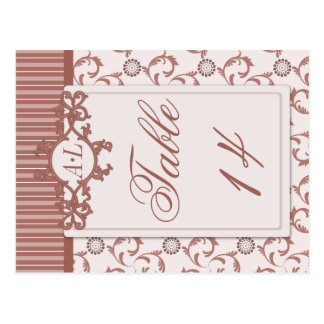 Table Numbers in Ornate Spice Beige Pattern Postcard