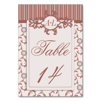 Table Numbers in Ornate Spice Beige Pattern Table Cards