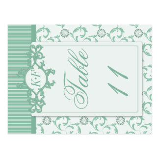 Table Numbers in Ornate Summer Green Pattern Post Card
