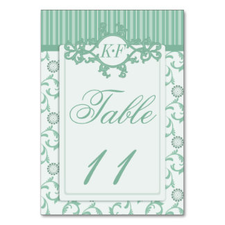 Table Numbers in Ornate Summer Green Pattern Table Card