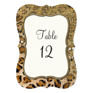 Table Numbers Natural Gold Glitter Leopard Pattern Card