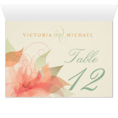 Table Numbers Orange Ice Floral Inside Fold-over Card