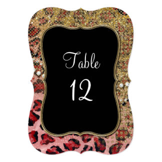 Table Numbers Pink Gold Glitter Leopard Pattern Custom Announcements