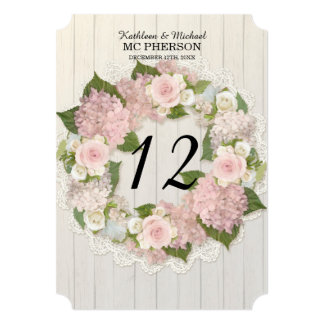 Table Numbers Pink Hydrangea Rose Lace Rustic Wood Card